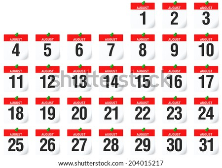 August Calendar All Calender Pages Together Each Sized 2000x2000 Pixel 3D rendering - stock photo