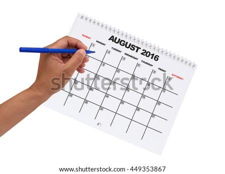 August 2016 Calendar Hand Felt Tip Pen isolated on white background - stock photo