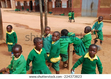 August 2014 - Village of Pomerini - Tanzania - Africa - The game of African unidentified children of asylum built in the Franciscan Mission of the Village of Pomerini in Tanzania. - stock photo
