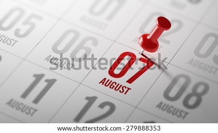 August 07 written on a calendar to remind you an important appointment. - stock photo