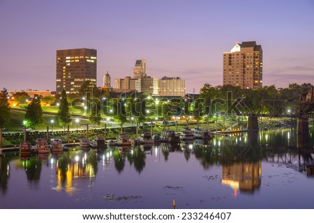 Augusta, Georgia, USA skyline on the Savannah River. - stock photo