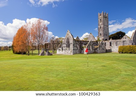 Augustinian Abbey in Adare golf club - Ireland. - stock photo