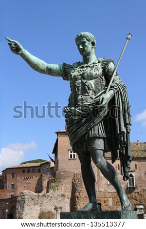 Augustus, the first roman emperor, near Imperial Forum - stock photo