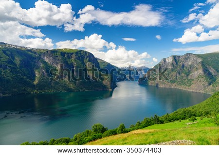 Aurlandsfjord (part of Sognefjord) against scenic blue sky, Norway - stock photo