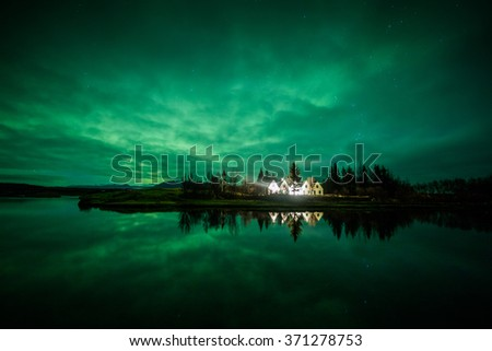 Aurora borealis (Northern Lights) in Iceland - stock photo