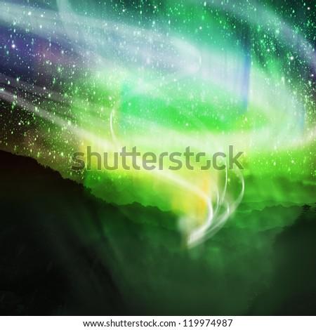 aurora borealis on the top of mountain view - stock photo