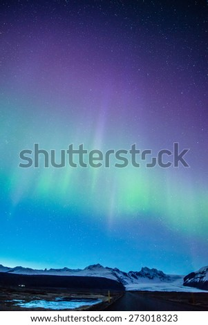Aurora display in Skaftafell, iceland - stock photo