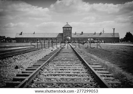 Auschwitz Birkenau a former Nazi extermination camp in Brzezinka, Poland near Oswiecim - stock photo