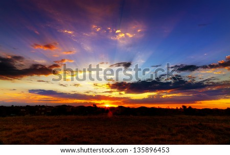 Aussie outback sunset - stock photo