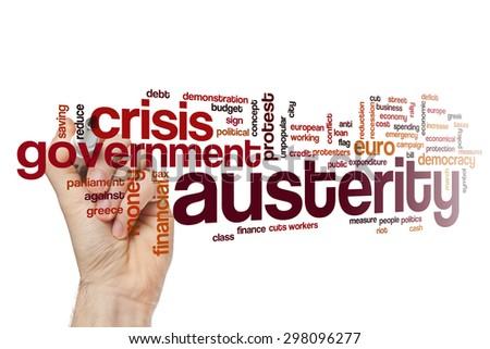 Austerity word cloud - stock photo