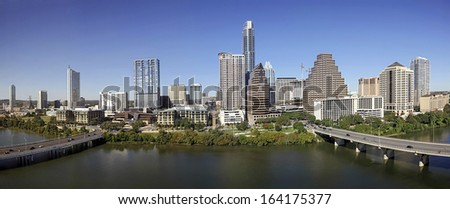 AUSTIN-OCTOBER 22: A View of the Skyline Austin at Sunny Day on October 22, 2013 Austin, Texas. Austin is the capital of the U.S. state of Texas and the 13th most populous city in the USA. - stock photo
