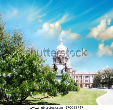 Austin, Texas. Beautiful view of Capitol with vegetation and surrounding parks. - stock photo
