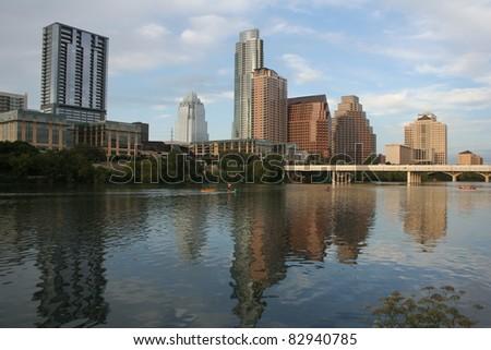 Austin, Texas downtown skyline across river - stock photo