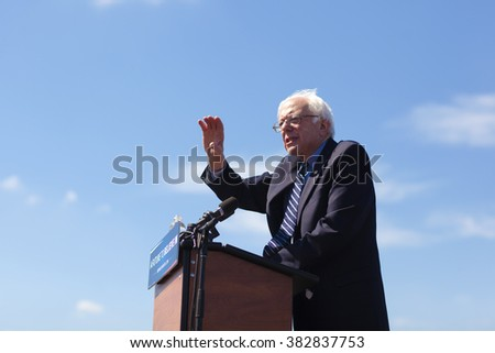 AUSTIN, TEXAS - FEBRUARY 27, 2016:  U.S. presidential candidate Senator Bernie Sanders speaks to a large crowd of over 10,000 people at the Circuit of the Americas. - stock photo