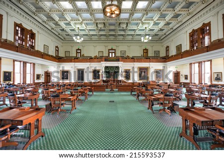 AUSTIN, TEXAS - MARCH 7: The Senate Chamber of the Texas State Capitol building on March 7, 2014 in Austin, Texas. - stock photo