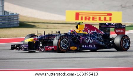 AUSTIN, TEXAS - NOVEMBER 17. Mark Webber of Red Bull racing team during the Formula 1 United States Grand Prix on November 17, 2013 in Austin, Texas. - stock photo