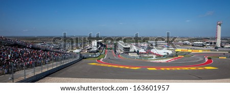 AUSTIN, TEXAS - NOVEMBER 17. Race day at the Circuit of The America race trace during the Formula 1 United States Grand Prix on November 17, 2013 in Austin, Texas. - stock photo