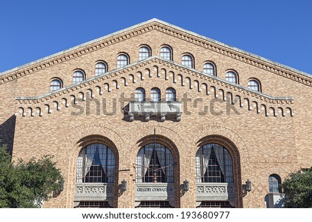 AUSTIN, TEXAS - OCTOBER 23, 2013: The Front of Gregory Gymnasium Building at University of Texas, Austin. It built in 1930. - stock photo