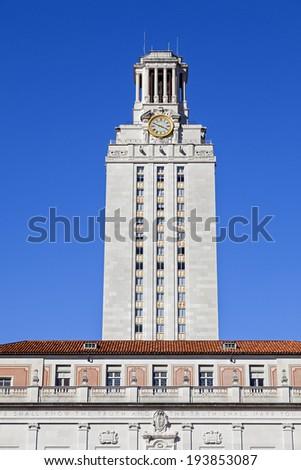 AUSTIN, TEXAS - OCTOBER 23, 2013: University of Texas at Austin Main Tower Building. - stock photo