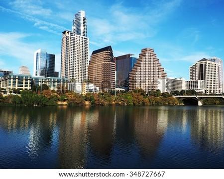 Austin, Texas skyline from the trail along Lady Bird Lake. - stock photo