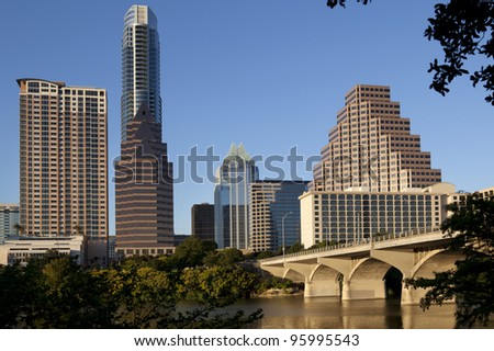 Austin, Texas skyline, Lady Bird Lake and Congress Avenue Bridge. - stock photo