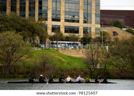 AUSTIN, TX - MAR 9: SXSW Interactive Conference on March 9, 2012 in Austin. Rolling team practices on Lady Bird Lake - stock photo