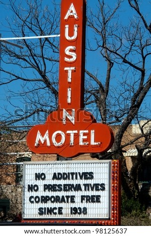 Austin, TX - March 11: SXSW Interactive Conference in Austin.   South Congress Ave. is full of interesting shops and hotel. - stock photo