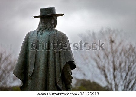 Austin, TX - March 9: SXSW Interactive Conference in Austin. Stevie Ray Vaughan status locates in Zilker Park - stock photo
