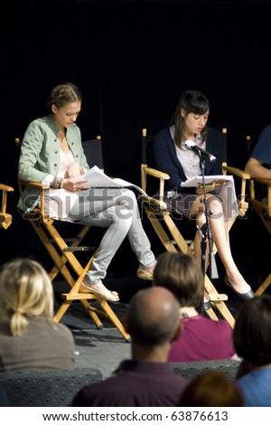 AUSTIN,TX - OCT. 24:  Jessica Alba and Aubrey Plaza at the ' The Hand Job ' Script Reading at the Rollins Theatre during the 17th Annual Austin Film Festival on October 24, 2010 in Austin, TX. - stock photo