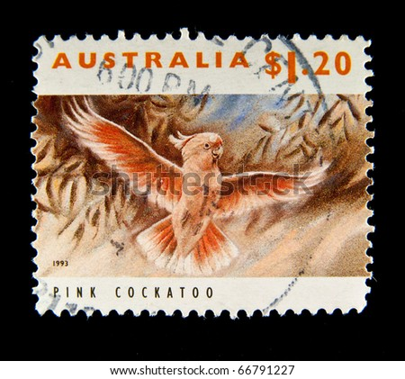 AUSTRALIA - 1993: A stamp printed in Australia shows image of a pink cockatoo bird, series, 1993 - stock photo
