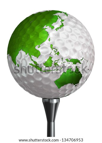 australia and asia green continent on golf ball and tee isolated on white backgound. clipping path included - stock photo