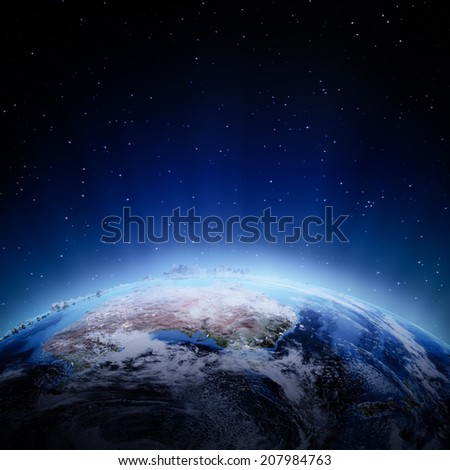 Australia and New Zeland lights at night. Elements of this image furnished by NASA - stock photo