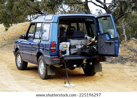 AUSTRALIA - APRIL 24: All terrain vehicle equipped and loaded with metal detectors to go prospecting for gold nuggets in the Australian bush, April 24, 2007 - stock photo