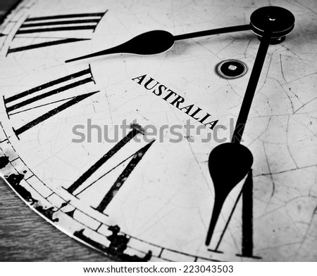 Australia black and white clock face - stock photo