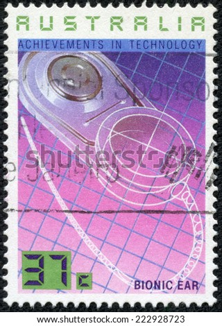 AUSTRALIA - CIRCA 1987:A Cancelled postage stamp from Australia illustrating Australian Achievements in Technology, issued in 1987. - stock photo