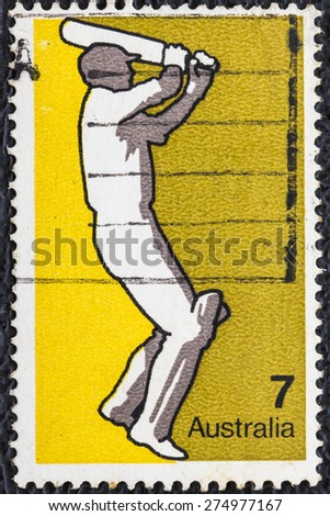 AUSTRALIA - CIRCA 1974:A Cancelled postage stamp from Australia  illustrating Australian Sports, Baseball ,  issued in 1974. - stock photo