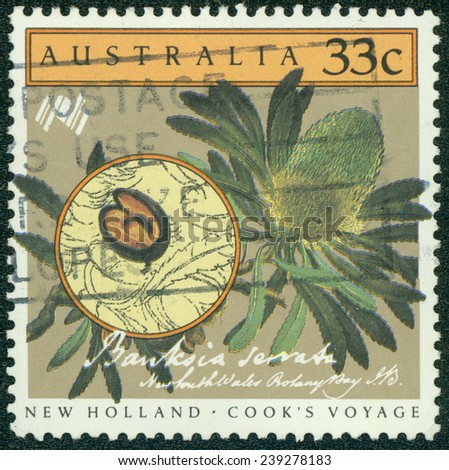 AUSTRALIA - CIRCA 1986:A Cancelled postage stamp from Australia illustrating Cook's voyage, issued in 1986. - stock photo