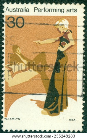 AUSTRALIA - CIRCA 1977:A Cancelled postage stamp from Australia illustrating Performing Arts, issued in 1977. - stock photo