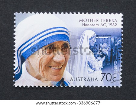 AUSTRALIA - CIRCA 2015: a postage stamp printed in Australia showing an image of Nobel Peace Prize winner Mother Teresa, circa 2015. - stock photo