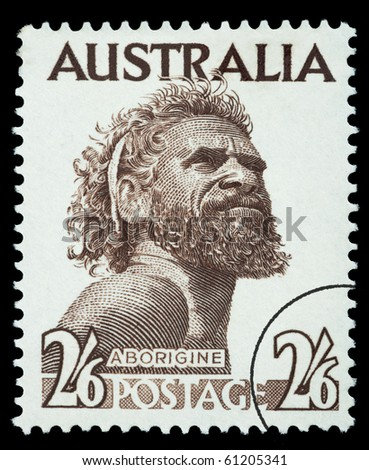 AUSTRALIA - CIRCA 1952: A postage stamp printed in the Australia showing an Aborigine Man named One Pound Jimmy, circa 1952 - stock photo