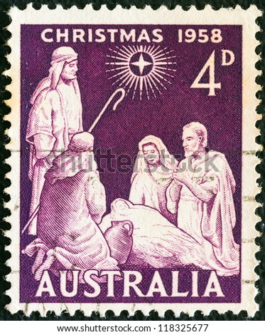 """AUSTRALIA - CIRCA 1958: A stamp printed in Australia from the """"Christmas """" issue shows the Nativity, circa 1958. - stock photo"""