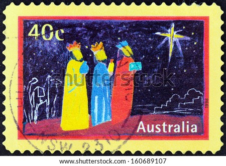 """AUSTRALIA - CIRCA 1998: A stamp printed in Australia from the """" Christmas """" issue shows the Three Kings, circa 1998.  - stock photo"""