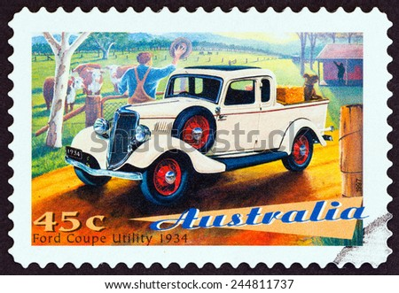 "AUSTRALIA - CIRCA 1997: A stamp printed in Australia from the ""Classic Cars "" issue shows Ford Coupe Utility, 1934, circa 1997.  - stock photo"