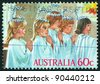 AUSTRALIA  - CIRCA 1986: A stamp printed in Australia issued for Christmas shows five kids as Angels, circa 1986. - stock photo