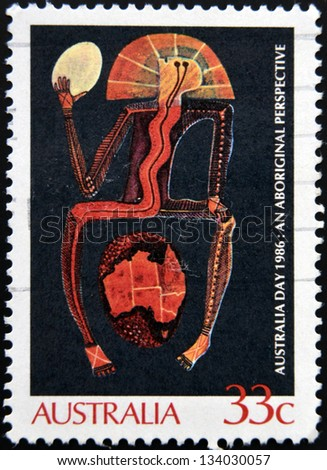 AUSTRALIA - CIRCA 1986 : A stamp printed in Australia shows Aboriginal painting, an aboriginal perspective, circa 1986 - stock photo