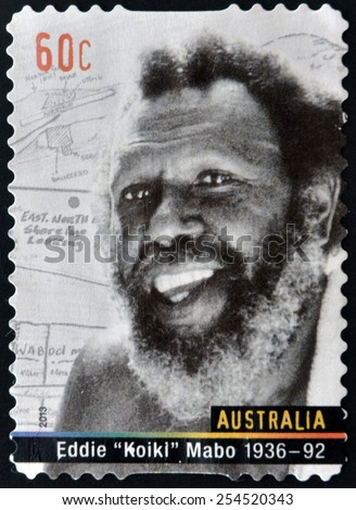 AUSTRALIA - CIRCA 2013: A stamp printed in Australia shows Eddie Koiki Mabo, circa 2013 - stock photo