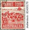 AUSTRALIA - CIRCA 1959: A stamp printed in Australia shows herd of cows, circa 1959 - stock photo