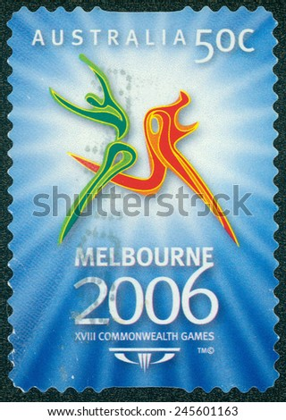 AUSTRALIA - CIRCA 2006: A stamp printed in Australia shows image celebrating the 18th Commonwealth Games in Melbourne in 2006, series, circa 2006 - stock photo