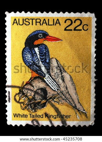AUSTRALIA - CIRCA 1980: A stamp printed in Australia shows image of a white-tailed kingfisher, circa 1980 - stock photo