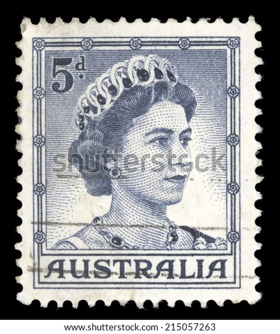 "AUSTRALIA - CIRCA 1959: A stamp printed in Australia shows Portrait of Queen Elizabeth II, without inscriptions, from the series ""Queen Elizabeth II"", circa 1959 - stock photo"